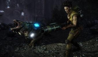 Op de afbeelding een personage uit de game Evolve